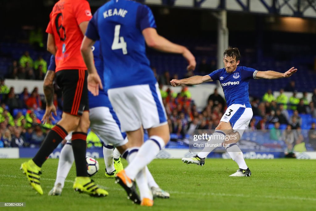 Leighton Baines of Everton scores the opening goal during the UEFA Europa League Third Qualifying Round First Leg match between Everton and MFK Ruzomberok at Goodison Park on July 27, 2017 in Liverpool, England.