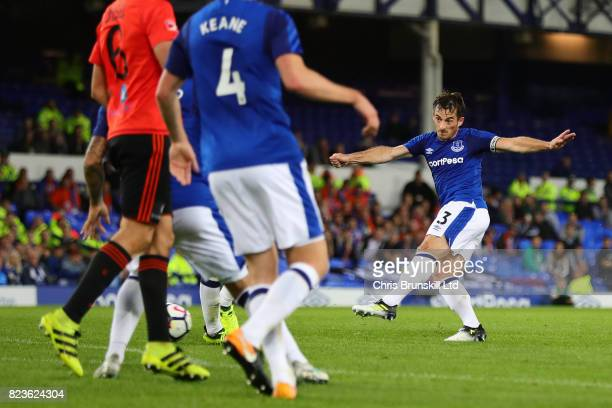 Leighton Baines of Everton scores the opening goal during the UEFA Europa League Third Qualifying Round First Leg match between Everton and MFK...