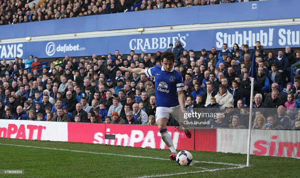 Leighton Baines of Everton takes a corner kick during the Barclays Premier League match between Everton and Cardiff City at Goodison Park on March 15...