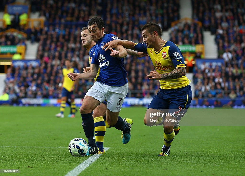 <a gi-track='captionPersonalityLinkClicked' href=/galleries/search?phrase=Leighton+Baines&family=editorial&specificpeople=682452 ng-click='$event.stopPropagation()'>Leighton Baines</a> (C) of Everton tangles with <a gi-track='captionPersonalityLinkClicked' href=/galleries/search?phrase=Mathieu+Debuchy&family=editorial&specificpeople=729104 ng-click='$event.stopPropagation()'>Mathieu Debuchy</a> (R) and Jack Wilshere of Arsenal during the Barclays Premier League match between Everton and Arsenal at Goodison Park on August 23, 2014 in Liverpool, England.