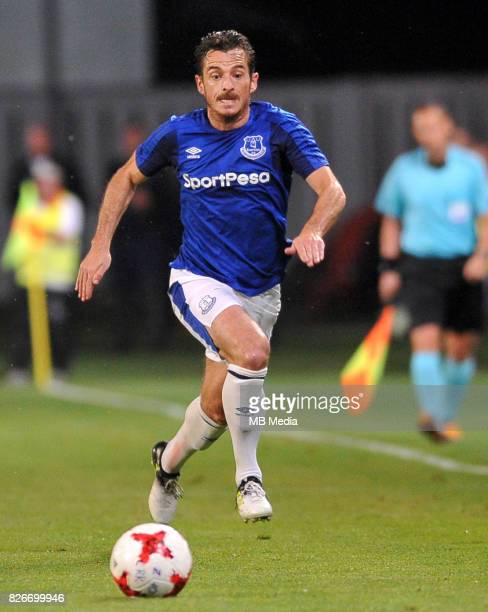 Leighton Baines reacts during the UEFA Europa League Qualifier between MFK Ruzomberok and Everton on August 3 2017 in Ruzomberok Slovakia