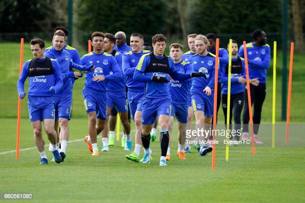 Leighton Baines Ross Barkley and team mates during the Everton FC training session at USM Finch Farm on March 30 2017 in Halewood England