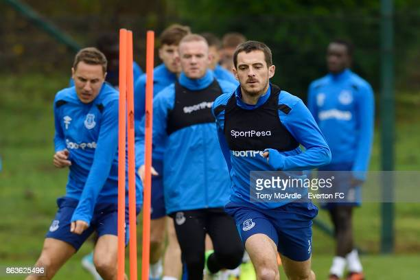 Leighton Baines Wayne Rooney and Phil Jagielka during the Everton training session at USM Finch Farm on October 20 2017 in Halewood England