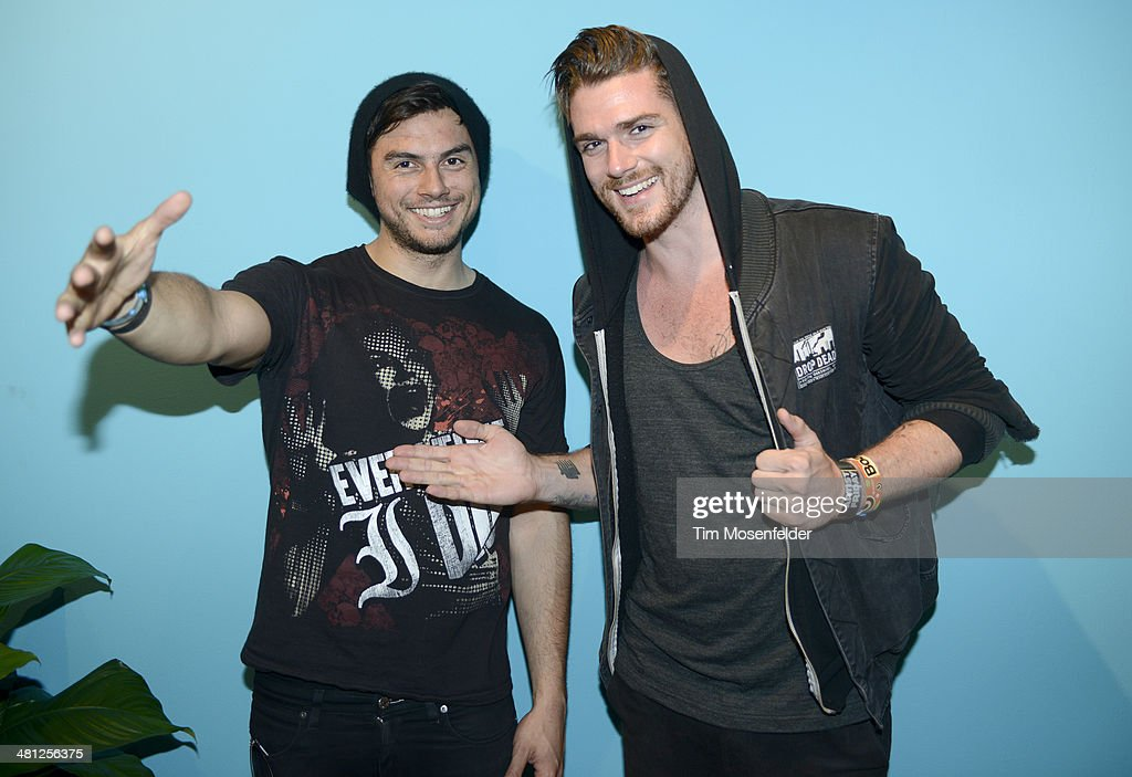 Leighton James and Christian Srigley of Adventure Club pose at the Ultra Music Festival at Bayfront Park Amphitheater on March 28 2014 in Miami...