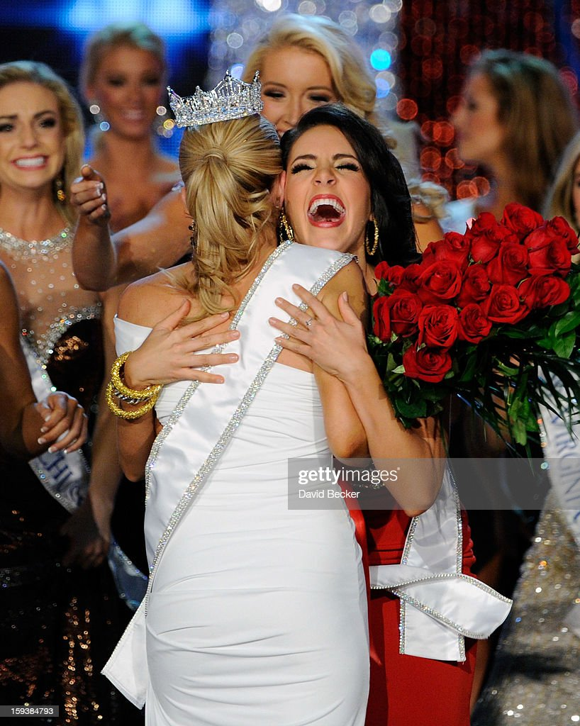 Leighton Jordan (R), Miss Georgia congratulates Mallory Hytes Hagan of New York after being crowned Miss America during the 2013 Miss America Pageant at PH Live at Planet Hollywood Resort & Casino on January 12, 2013 in Las Vegas, Nevada.