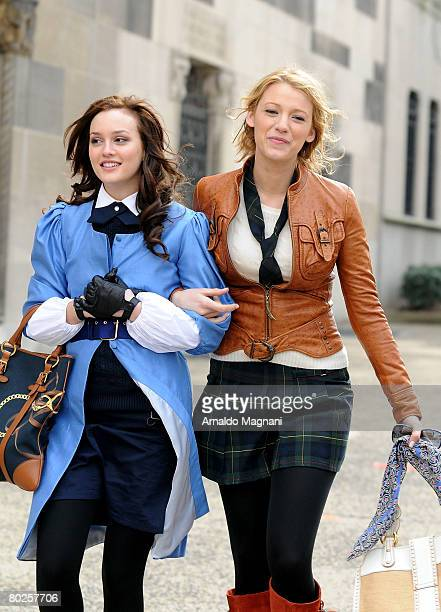 Leighton Meester and Blake Lively on location during a filming of ''Gossip Girl'' on March 14 2008 in New York City