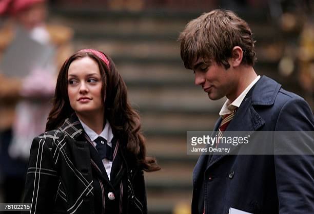 Leighton Meester and Chace Crawford on location for 'Gossip Girl' on November 26 2007 in New York City New York