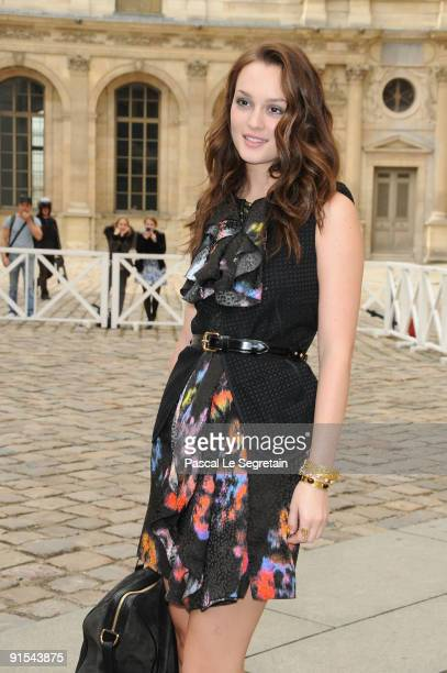 Leighton Meester arrives for the Louis Vuitton Pret a Porter show as part of the Paris Womenswear Fashion Week Spring/Summer 2010 at Cour Carree du...