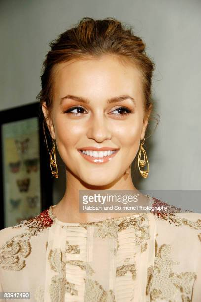 NEW YORK OCTOBER 14 Leighton Meester attend a cocktail party celebrating the 5th CFDA/Vogue Fashion Fund at a private residence on October 14 2008 in...
