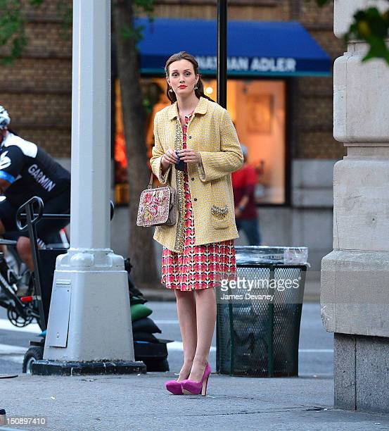 Leighton Meester filming on location for 'Gossip Girl' on August 28 2012 in New York City
