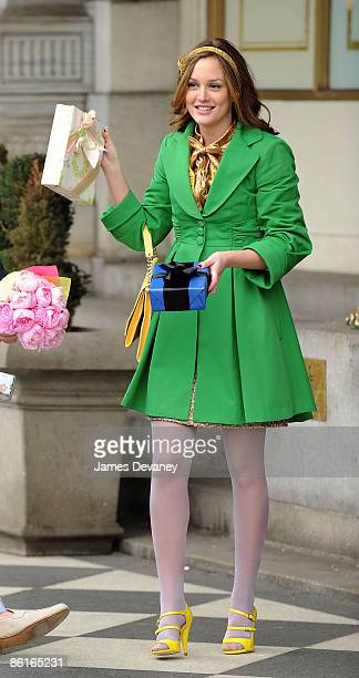 Leighton Meester films on location for 'Gossip Girl' on the streets of Manhattan on March 16 2009 in New York City