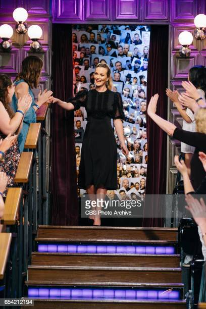 Leighton Meester greets the audience during 'The Late Late Show with James Corden' Monday March 13 2017 On The CBS Television Network
