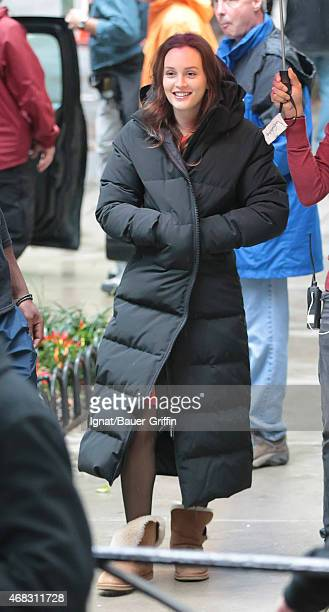 Leighton Meester is seen on the movie set of 'Gossip Girl' on October 02 2012 in New York City