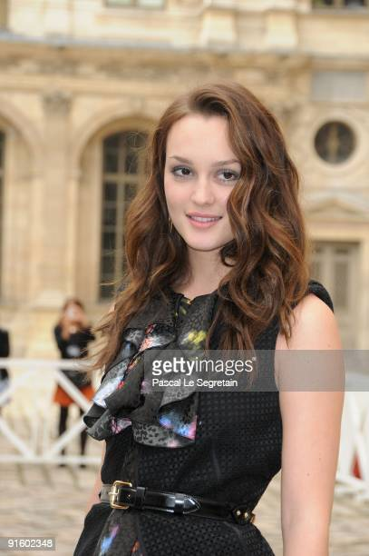 Leighton Meester poses as she arrives for the Louis Vuitton Pret a Porter show as part of the Paris Womenswear Fashion Week Spring/Summer 2010 at...