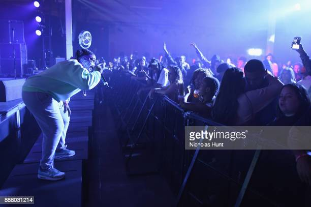Leikeli47 performs on stage at BACARDI Swizz Beatz and The Dean Collection bring NO COMMISSION back to Miami to celebrate 'Island Might' at Soho...