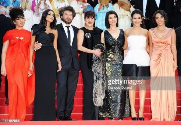 Leila Bekhti director Radu Mihaileanu Biyouna Hiam Abbas Sabrina Ouazani and Hafsia Herzi attends the 'La Source Des Femmes' Premiere at Palais des...