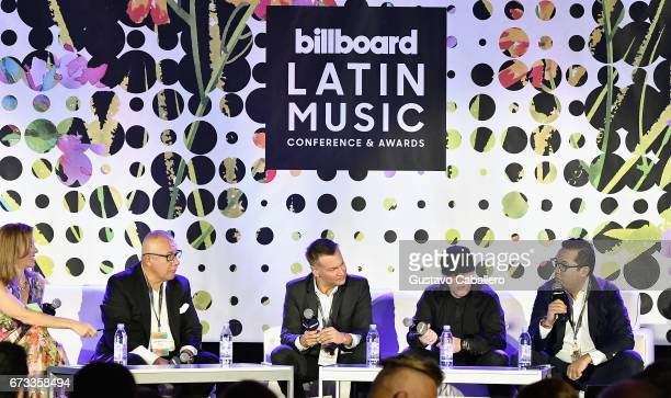 Leila Cobo Henry Cardenas Walter Kolm Juan Diego Medina and Jorge Juarez speak at the Billboard Latin Conference 2017 at Ritz Carlton South Beach on...
