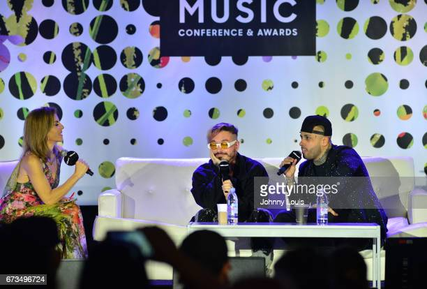 Leila Cobo J Balvin and Nicky Jam during The Billboard Latin Music Conference Awards THE BILLBOARD SUPERSTAR MANO A MANO panel at Ritz Carlton South...