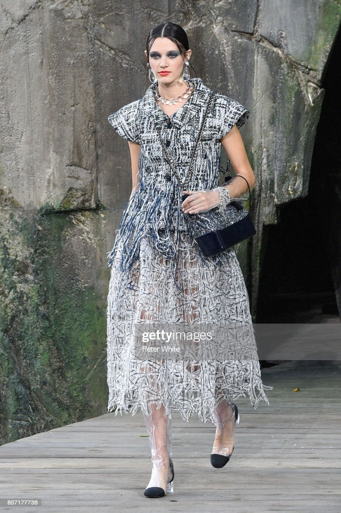 Leila Goldkhul walks the runway during the Chanel Paris show as part of the Paris Fashion Week Womenswear Spring/Summer 2018 on October 3, 2017 in Paris, France.