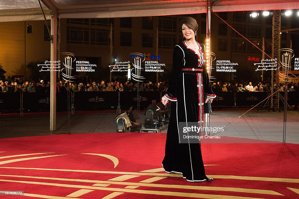 Leila Hadioui poses as she arrives at the 'Ginger & Rosa' Premiere during the 12th International Marrakech Film Festival on December 7, 2012 in Marrakech, Morocco.