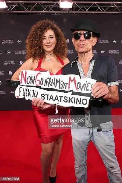 Leila Lowfire and director Klaus Lemke during the opening night of the Munich Film Festival 2016 at Mathaeser Filmpalast on June 23 2016 in Munich...