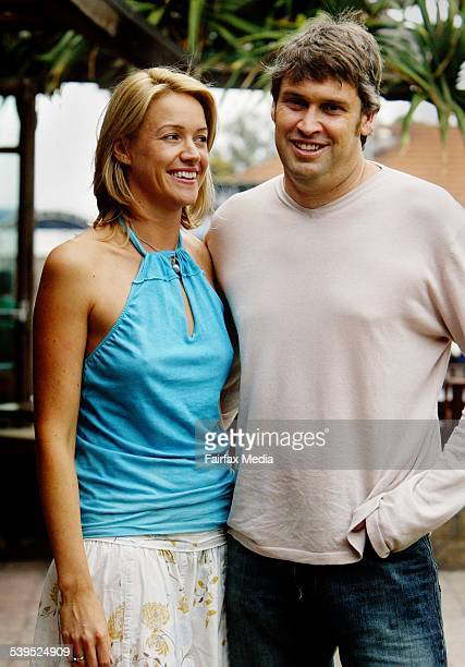 Leila McKinnon and David Gyngill CEO Channel 9 at the Beach Hotel Byron Bay on the eve of their wedding day 10 December 2004 SHD Picture by FIONALEE...