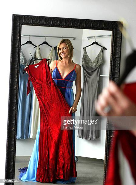 Leila McKinnon trying on fashion designer Lisa Ho's frocks in preperation for the Logies 29 April 2005 SHD Picture by JACKY GHOSSEIN