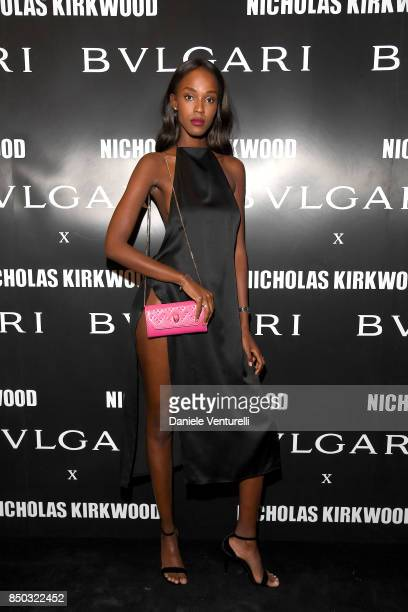 Leila Nda attends a party celebrating 'Serpenti Forever' By Nicholas Kirkwood for Bvlgari on September 20 2017 in Milan Italy