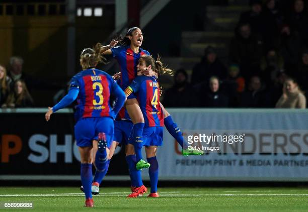 Leila Ouahabi and Marta Unzue of FC Barcelona celebrate after scoring their first goal during the UEFA Women's Champions League match between...