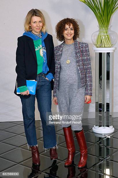 Leila Slimani and a guest attend the Chanel Haute Couture Spring Summer 2017 show as part of Paris Fashion Week on January 24 2017 in Paris France