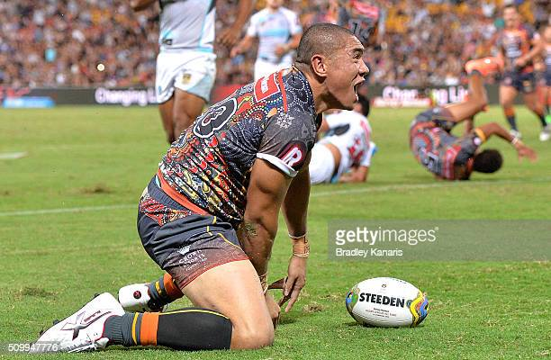 Leilani Latu of the Indigenous All Stars celebrates scoring a try during the NRL match between the Indigenous AllStars and the World AllStars at...