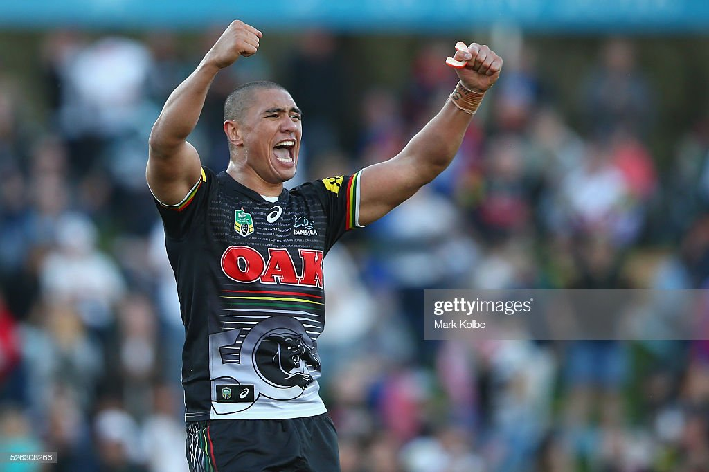 Leilani Latu of the Panthers celebrates victory during the round nine NRL match between the Penrith Panthers and the Canberra Raiders at Carrington Park on April 30, 2016 in Bathurst, Australia.