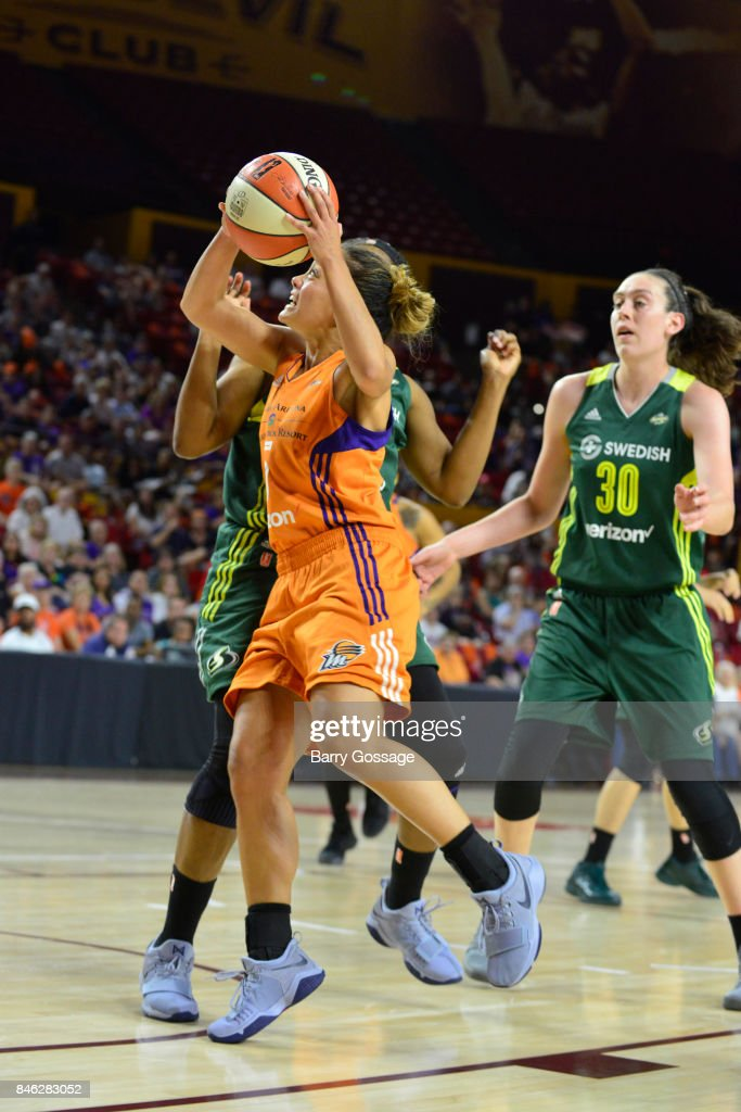 Leilani Mitchell #5 of the Phoenix Mercury goes to the basket during the game against the Seattle Storm in Round One of the 2017 WNBA Playoffs on September 6, 2017 at Arizona State University Wells Fargo Arena in Tempe, Arizona.
