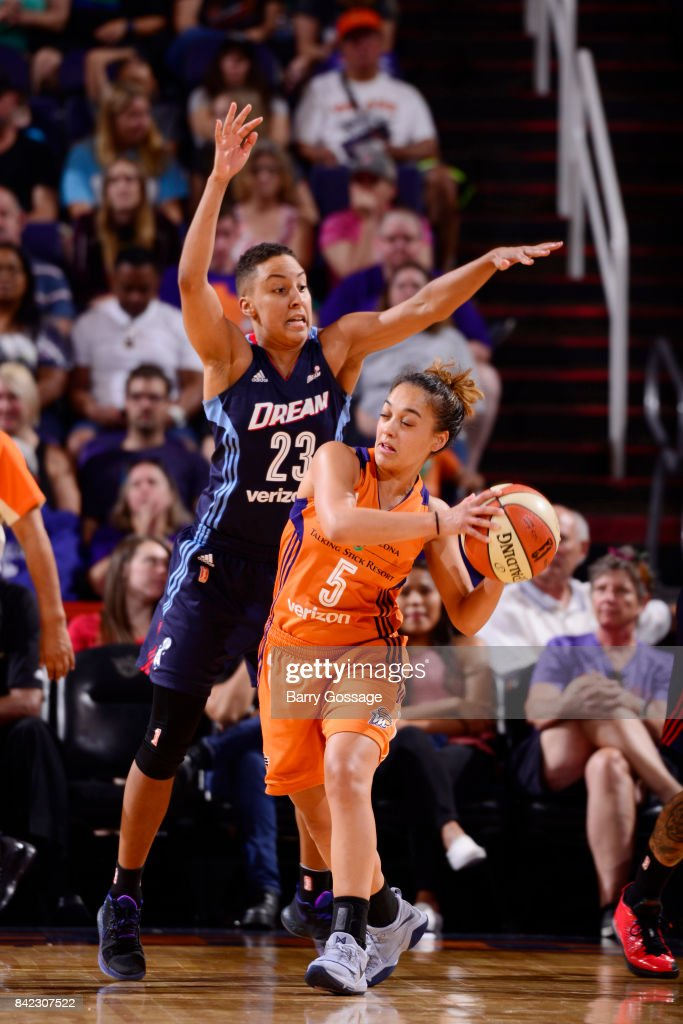 Leilani Mitchell #5 of the Phoenix Mercury handles the ball against Layshia Clarendon #23 of the Atlanta Dream on September 3, 2017 at Talking Stick Resort Arena in Phoenix, Arizona.