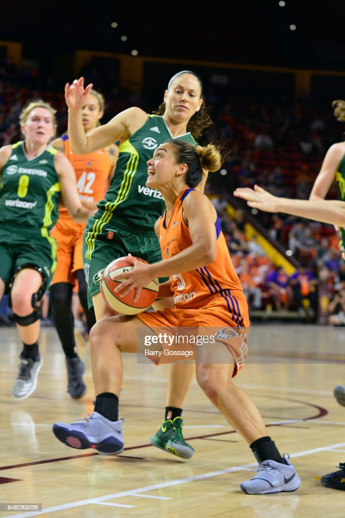 Leilani Mitchell #5 of the Phoenix Mercury handles the ball during the game against the Seattle Storm in Round One of the 2017 WNBA Playoffs on September 6, 2017 at Arizona State University Wells Fargo Arena in Tempe, Arizona.