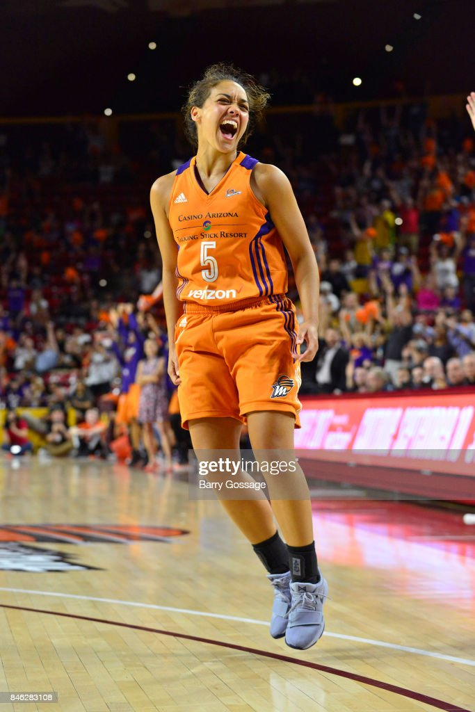 Leilani Mitchell #5 of the Phoenix Mercury reacts during the game against the Seattle Storm in Round One of the 2017 WNBA Playoffs on September 6, 2017 at Arizona State University Wells Fargo Arena in Tempe, Arizona.