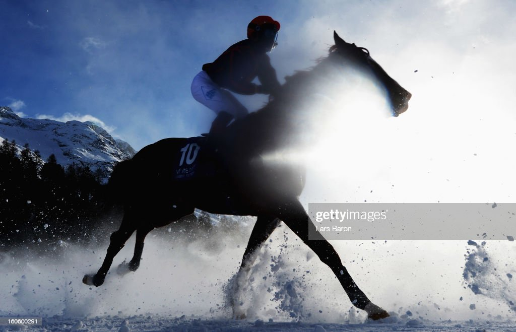 Leiloken ridden by Aurelien Lemaitre competes during the Grand Prix Guardaval Immobilien race at the White Turf horse racing meeting held on the frozen Lake St Moritz on February 3, 2013 in St Moritz, Switzerland.