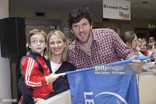 Leinster and Ireland player Shane Horgan meets young Munster supporter Patrick Kelly and his mother Bernice during a visit to Our Lady's Children's...