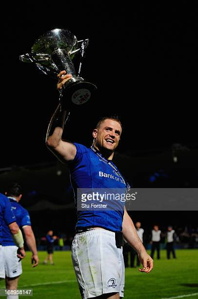 Leinster captain Jamie Heaslip celebrates after winning the Amlin Challenge Cup Final match between Leinster and Stade Francais Paris at Royal Dublin...
