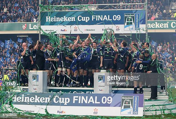 Leinster celebrate after winning the Heineken Cup Final between Leicester Tigers and Leinster at Murrayfield on May 23 2009 in Edinburgh Scotland