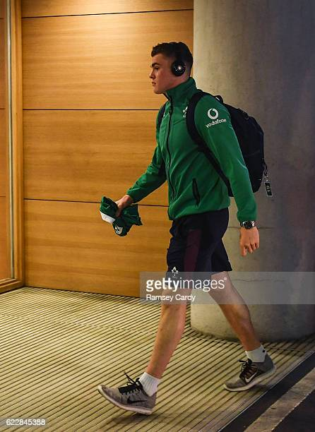 Leinster Ireland 12 November 2016 Garry Ringrose of Ireland arrives ahead of the Autumn International match between Ireland and Canada at the Aviva...