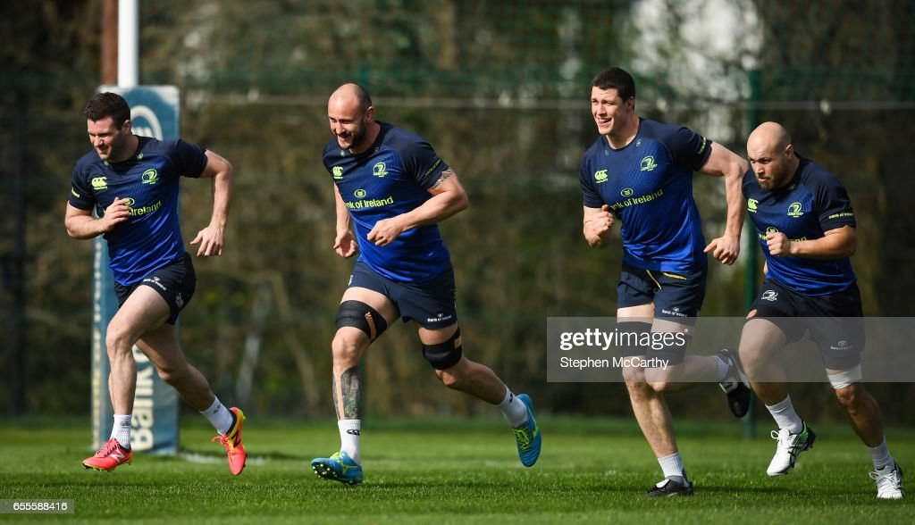 Leinster , Ireland - 20 March 2017; Leinster players, from left, Fergus McFadden, Hayden Triggs, Isa Nacewa and Richardt Strauss during squad training at UCD in Dublin.
