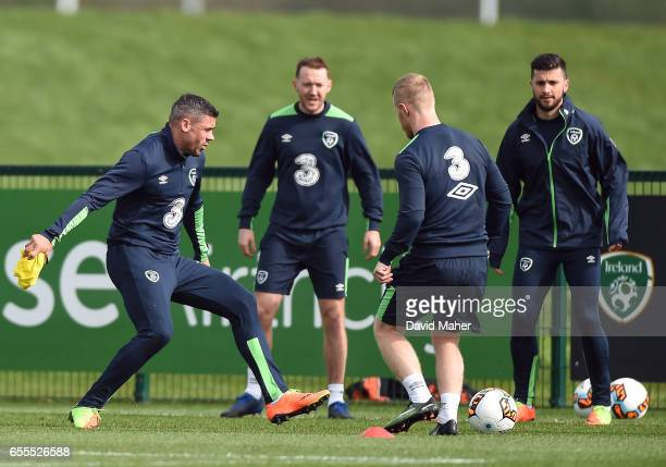 Leinster Ireland 20 March 2017 Republic of Ireland players from left Jonathan Walters Aidan McGeady Daryl Horgan and Shane Long in action during...
