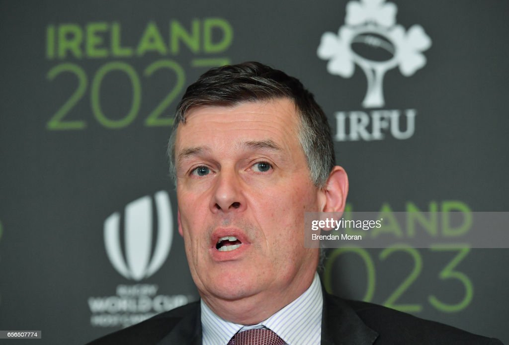 Leinster , Ireland - 22 March 2017; Chief Executive of the IRFU Philip Browne in attendance at an Ireland 2023 Rugby World Cup Media Conference at the Merrion Hotel in Dublin following a two day visit by the World Rugby Technical Review Group visit as part of Ireand's bid to host the 2023 Rugby World Cup.