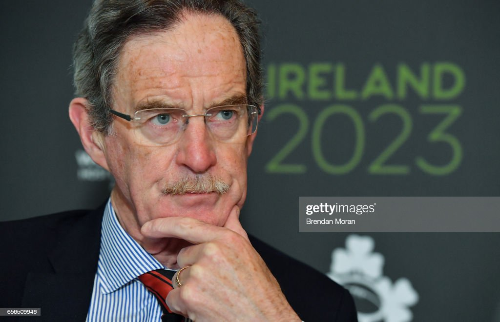 Leinster , Ireland - 22 March 2017; Ireland 2023 Oversight Board member Dick Spring in attendance at an Ireland 2023 Rugby World Cup Media Conference at the Merrion Hotel in Dublin following a two day visit by the World Rugby Technical Review Group visit as part of Ireand's bid to host the 2023 Rugby World Cup .