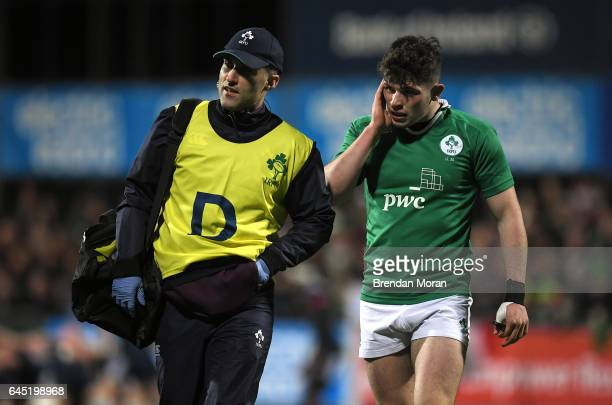 Leinster Ireland 24 February 2017 Calvin Nash of Ireland leaves the pitch for a head injury assesment during the RBS U20 Six Nations Rugby...