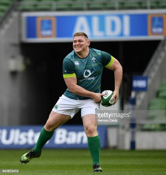 Leinster Ireland 24 February 2017 Tadhg Furlong of Ireland during the captain's run at the Aviva Stadium in Dublin