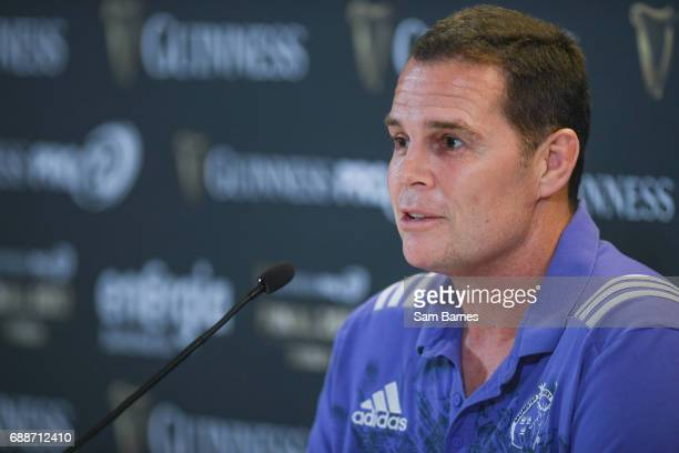 Leinster Ireland 26 May 2017 Munster director of rugby Rassie Erasmus during the Guinness PRO12 Final Press Conference at the Aviva Stadium in Dublin