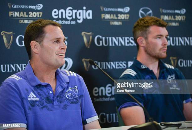 Leinster Ireland 26 May 2017 Munster director of rugby Rassie Erasmus and Peter OMahony of Munster during the Guinness PRO12 Final Press Conference...