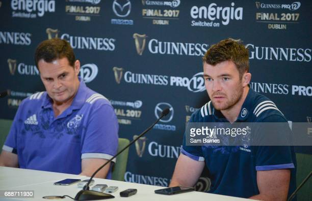 Leinster Ireland 26 May 2017 Peter OMahony of Munster and Munster director of rugby Rassie Erasmus during the Guinness PRO12 Final Press Conference...